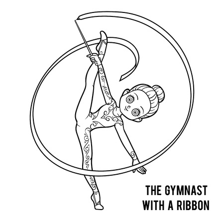 Coloring book for children, The gymnast with a ribbon Stock Vector - 88324223