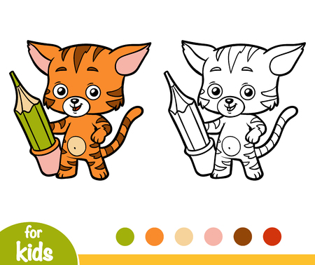 Coloring book for children, cat with a pencil