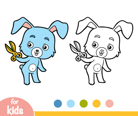 Coloring book for children - rabbit and scissors