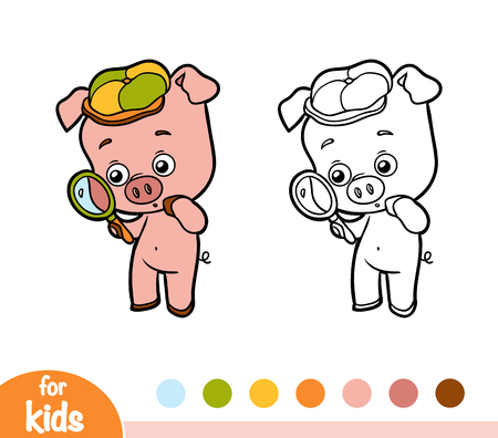 Coloring book for children - pig with a magnifying glass Illustration