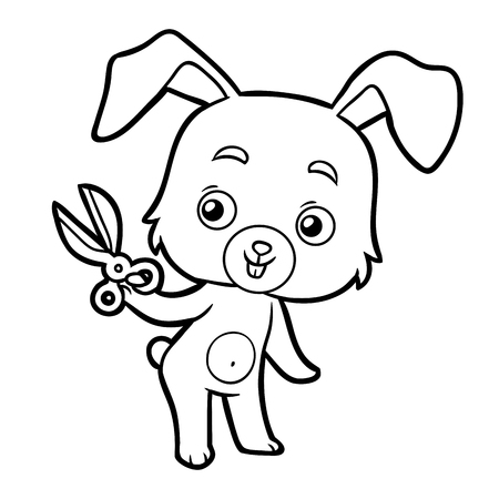 Coloring book for children - rabbit and scissors