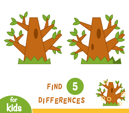 Find differences, education game for children, Oak.