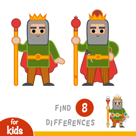 Find differences, education game for children, King