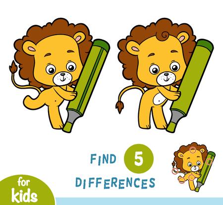 教育、ライオンの子供のためのゲームの違いを見つける 写真素材 - 91001412