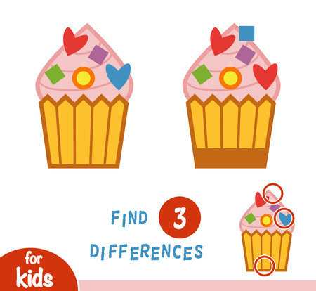 Find differences education game for children, Cupcake.
