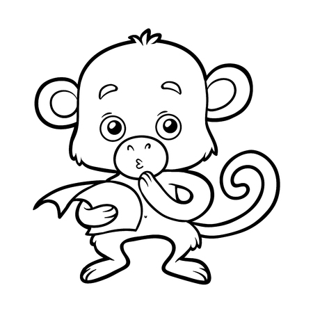 Coloring book for children, Monkey.