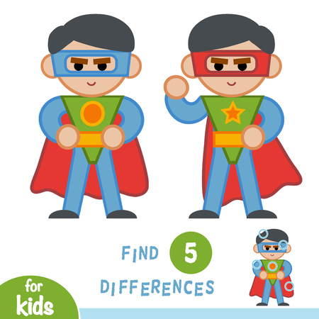 Find differences, education game for children, Superhero.
