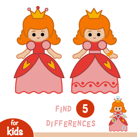 Find differences, education game for children, Princess. Çizim