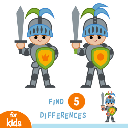 Find differences, education game for children, Knight Illustration