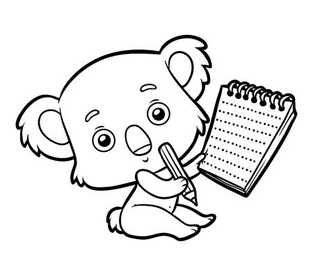 Dibujo Para Colorear Para Niños, Koala Ilustraciones Vectoriales ...