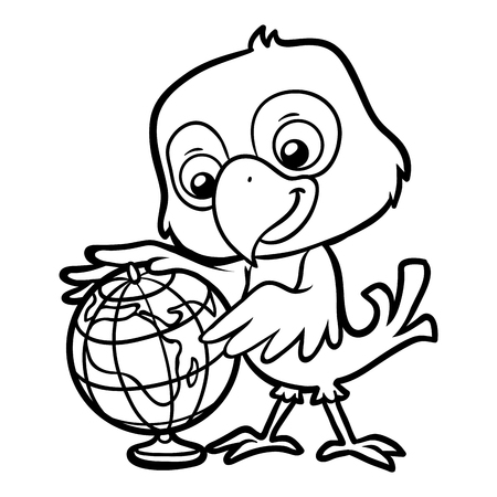 Coloring book for children, Parrot and globe