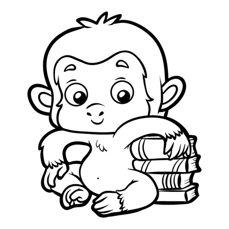 Coloring book for children, Monkey and books.