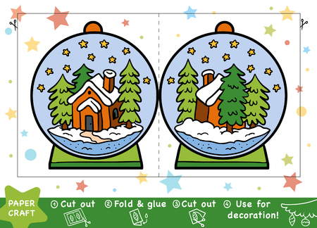 Education Christmas Paper Crafts for children, Snowball with a house. Use scissors and glue to create the image.