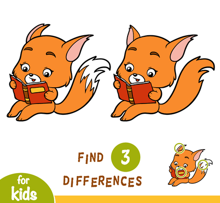 Find differences, education game for children, Fox and a book.