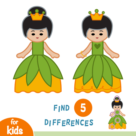 Find differences, education game for children, Princess. Illustration