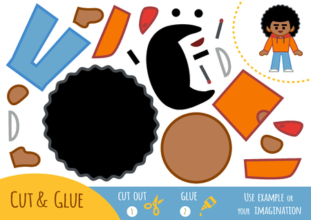 Education paper game for children, African American boy. Use scissors and glue to create the image. Illustration