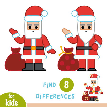 Find differences, education game for children, Santa Claus.
