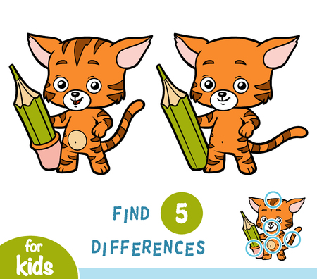 Find differences, education game for children, Cat and pencil. Illustration