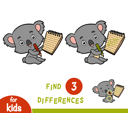 Find differences, education game for children, Koala and notebook. Illustration