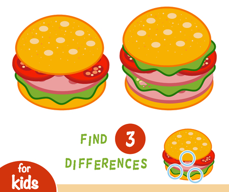 Find differences education game for children, Burger.