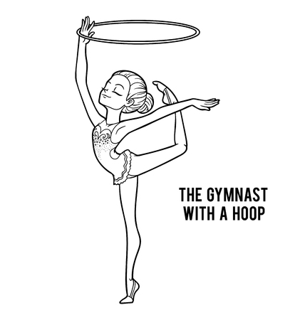 Coloring book for children, The gymnast with a hoop.