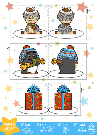 Education Christmas Paper Crafts for children. Sheep, Penguin and Christmas gift. Use scissors and glue to create the image.