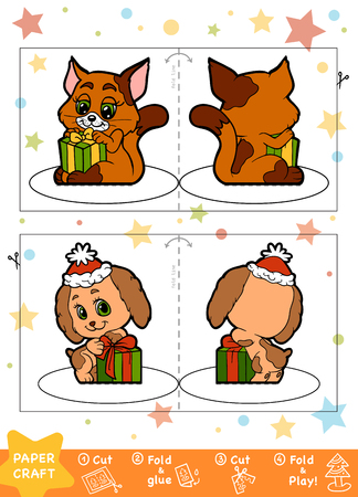 Education Christmas Paper Crafts for children, Dog and Cat. Use scissors and glue to create the image. Illustration