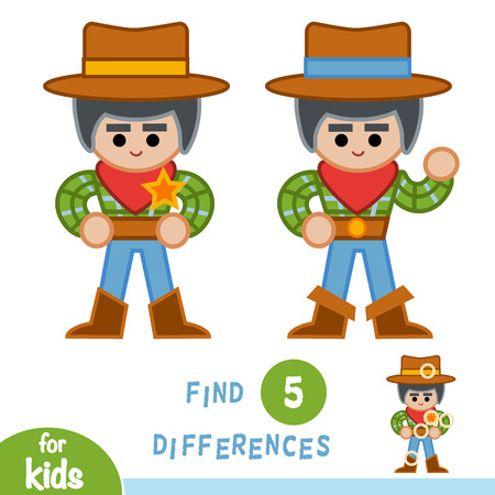 Find differences, education game for children, Sheriff. Illustration