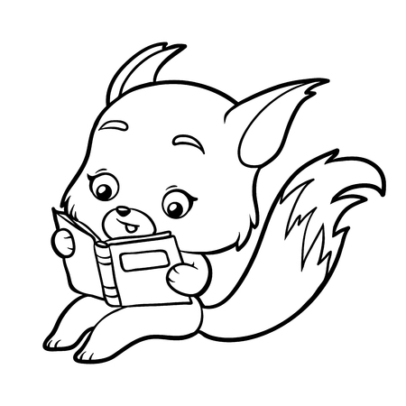 Coloring book for children, Fox with a book.