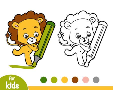 Dibujo Para Colorear Para Niños, León Ilustraciones Vectoriales ...