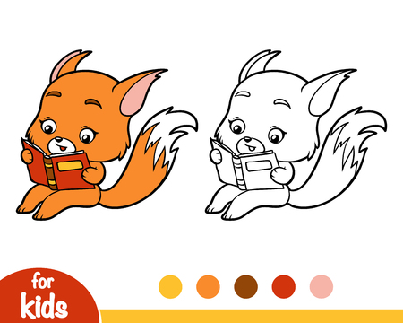 Coloring book for children, Fox with a book 向量圖像
