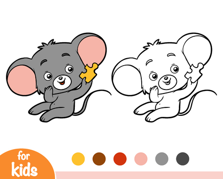 Coloring book for children, Mouse Vectores