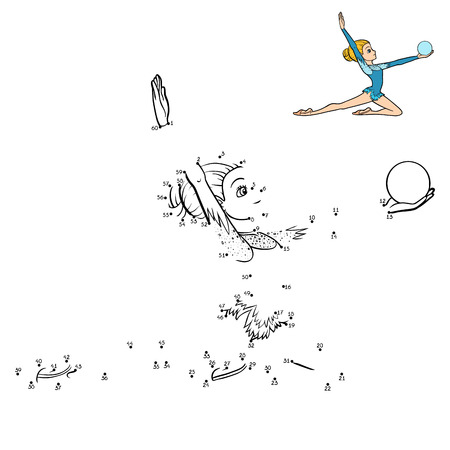 Aantallenspel, onderwijs punt tot punt spel voor kinderen, de turner met een bal Stock Illustratie