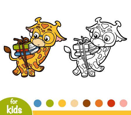 Coloring book for children, Giraffe and books Illustration