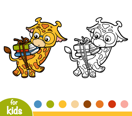 Coloring book for children, Giraffe and books Illustration