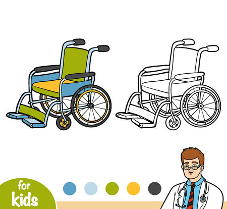 Coloring book for children, Wheelchair Illustration