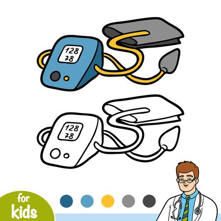 Coloring book for children, Tonometer for blood pressure measurement Illustration