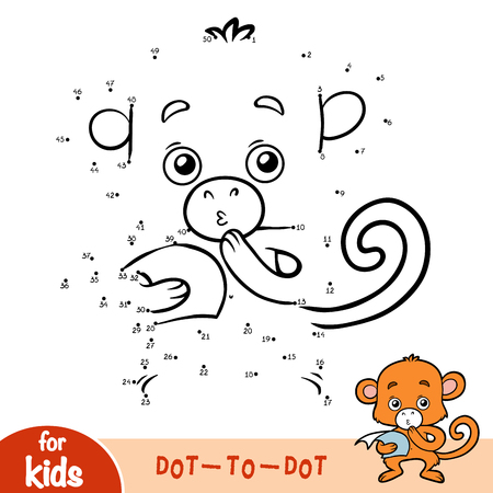 Numbers game, education dot to dot game for children, Monkey Illustration