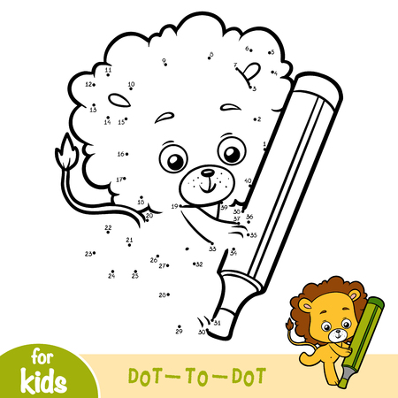 Numbers game, education dot to dot game for children, Lion