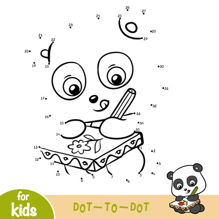 Numbers game, education dot to dot game for children, Panda Ilustrace