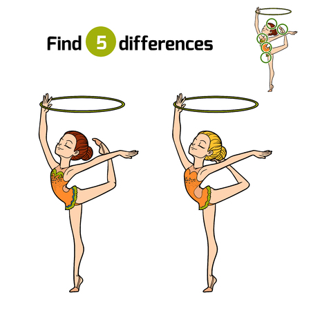 Find differences, education game for children, The gymnast with a hoop