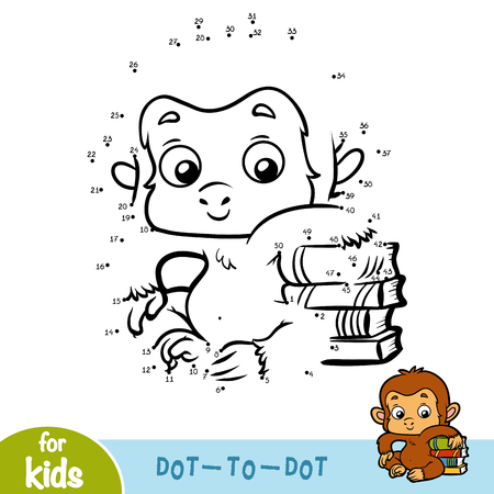 Numbers game, education dot to dot game for children, Monkey and books Illustration
