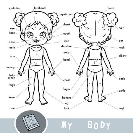 Dicionário visual de desenhos animados para crianças sobre o corpo humano. Minhas partes do corpo para uma garota. Ilustración de vector
