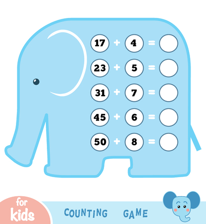 Counting Game for Preschool Children. Educational a mathematical game. Count the numbers in the picture and write the result. Ilustracja