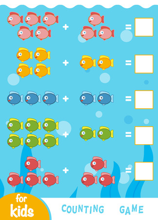 Counting Game for Preschool Children. Educational a mathematical game. Count the number of fish and write the result. Addition worksheets