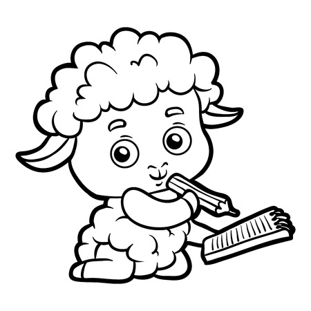 Coloring book for children, Sheep writer with a pencil and a notebook