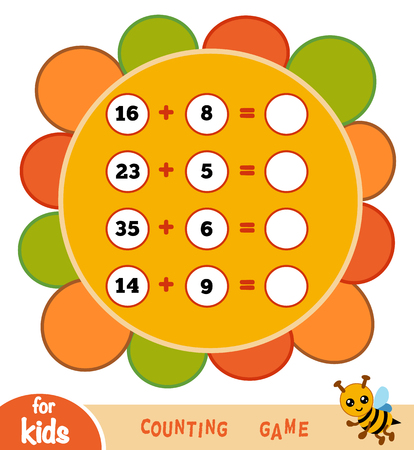 Counting Game for Preschool Children. Educational a mathematical game. Count the numbers in the picture and write the result. Vettoriali