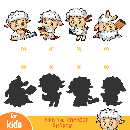 Find the correct shadow, education game for children, Sheep set