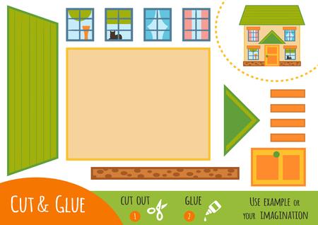 Educatief papieren spel voor kinderen, House. Gebruik een schaar en lijm om de afbeelding te maken.
