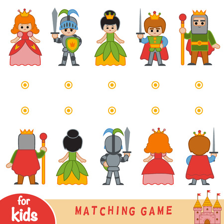 Matching game for children. Find the front and back of the fairy-tale characters Stock Illustratie